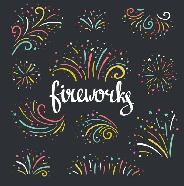 Hand drawn vector colorful Christmas fireworks on black background. Hand drawn vector colorful Christmas fireworks on the white  background. Bright holiday design elements. fireworks stock illustrations