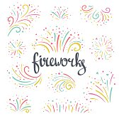 Hand drawn vector colorful Christmas fireworks on the white  background. Bright holiday design elements.