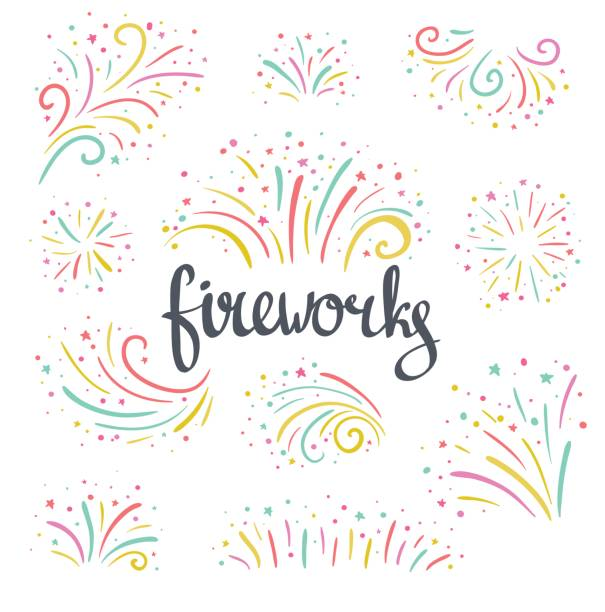 Hand drawn vector colorful Christmas fireworks on white background. Hand drawn vector colorful Christmas fireworks on the white  background. Bright holiday design elements. pyrotechnic effects stock illustrations