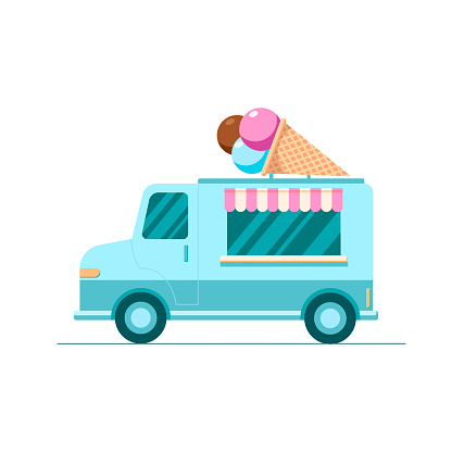 Hand drawn vector colorful Ice truck, mobile shop on white background. Illustration in flat cartoon style.
