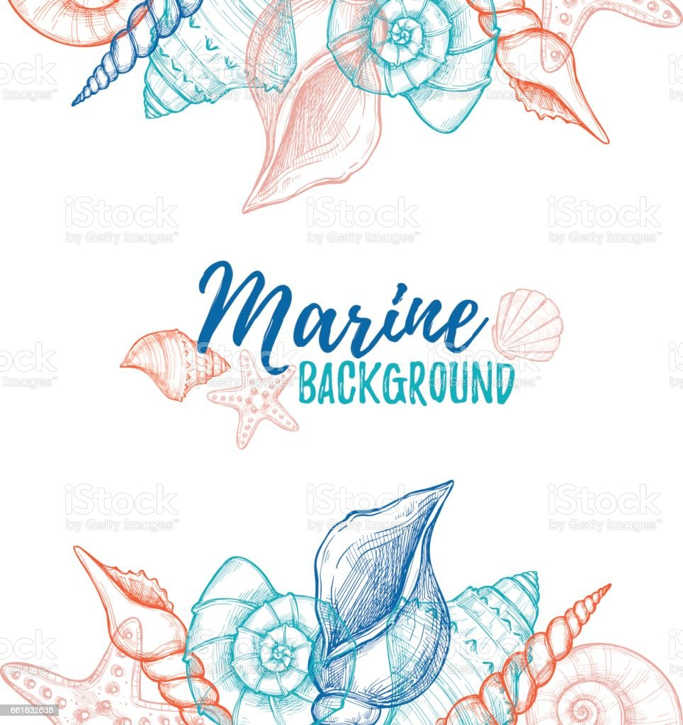 Hand drawn vector colorful illustration - Marine background. Design template with seashells. Perfect for invitations, greeting cards, posters, prints, banners, flyers etc