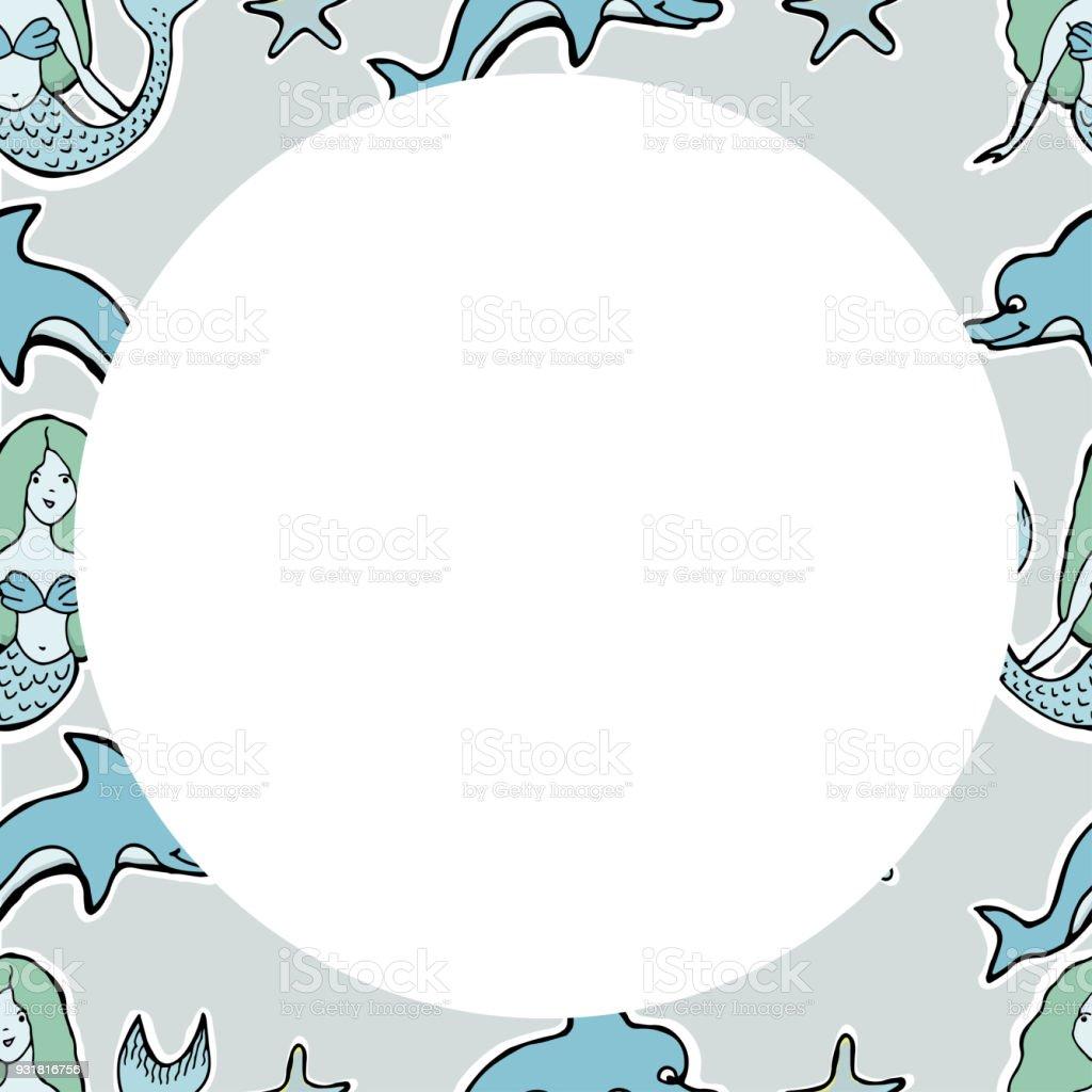 Hand Gezeichnet Vektor Süße Meerjungfrau Delphin Sterne Rahmen Für ...