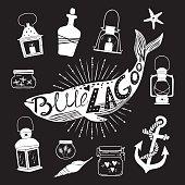 Hand drawn vector design elements. Marine kit (lantern, jars, anchor, shells, bottle of rum, starfish). Vintage.
