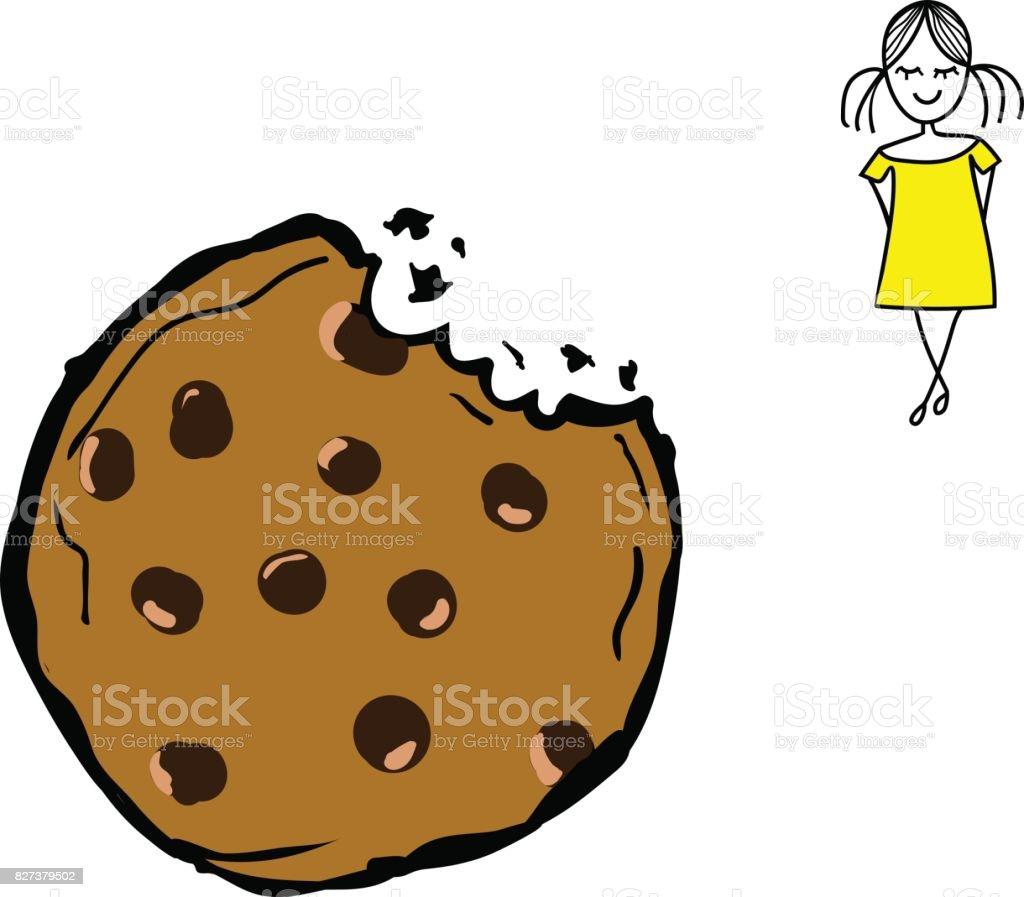 Hand Gezeichnet Vektor Doodle Schokoladenkekse Gebissen Cookie ...