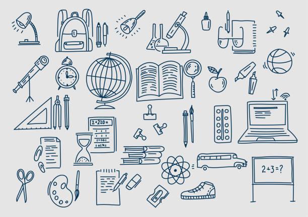 illustrations, cliparts, dessins animés et icônes de dessiné à la main vecteur doodle icônes et symboles de l'école. - sports lycée