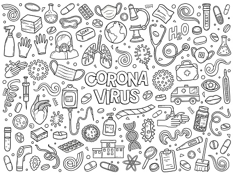 Hand drawn vector doodle set of Coronavirus Covid-19 outbreak. Ink style
