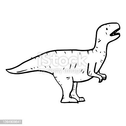 istock Hand drawn vector doodle t rex illustration.cartoon tyrannosaurus isolated on white background for coloring page, poster design , t shirt print, and sticker. 1264909541