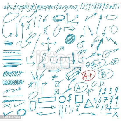 Hand Drawn Vector Doodles Arrows and Design Elements Collection. Alphabet and design brushes included.