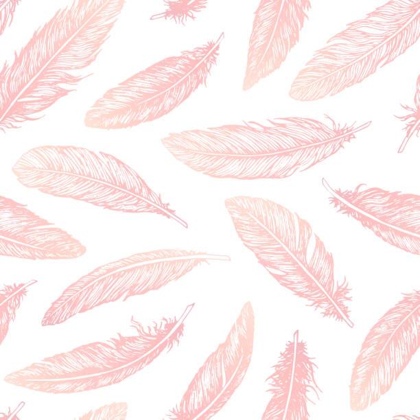 ręcznie rysowane pióra wektorowe linii sztuki bez szwu wzór na białym tle. szczegółowa różowa dekoracja boho. pastelowa ozdoba do pakowania papieru, tkanin i tekstyliów. - pióro przyrząd do pisania stock illustrations