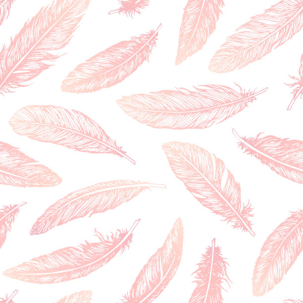 illustrazioni stock, clip art, cartoni animati e icone di tendenza di hand drawn vector feathers line art seamless pattern on white background. detailed pink boho decoration. pastel ornament for wrapping paper, fabrics and textile. - piume colorate