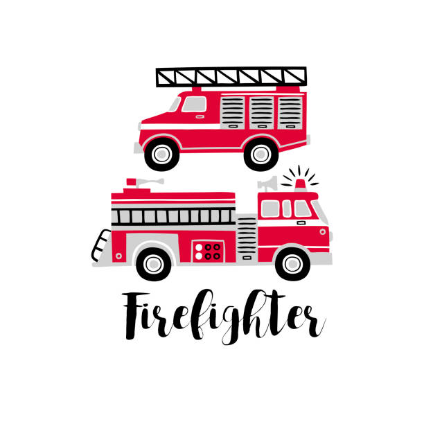 Hand drawn vector fire engines with text. Tee-shirt logo on white background. fire engine stock illustrations