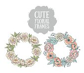 Hand drawn vector floral frames