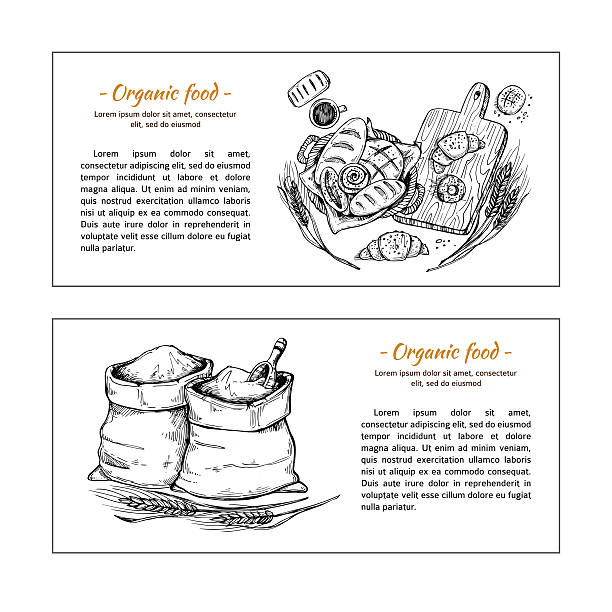 hand drawn vector flyers - bakery shop. basket with pastry. - brotzopf stock-grafiken, -clipart, -cartoons und -symbole