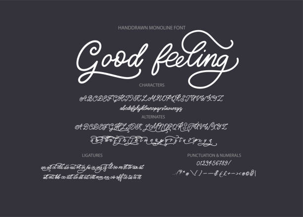 hand drawn vector font. - alphabet drawings stock illustrations