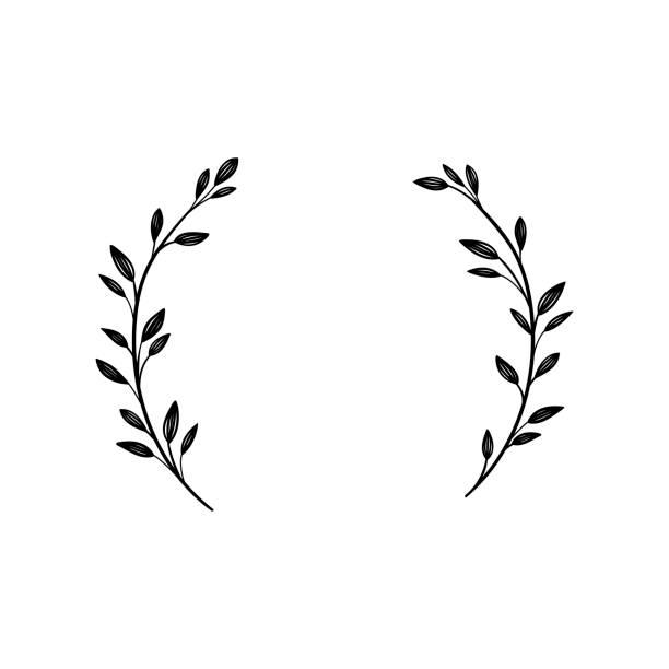 ręcznie rysowana rama wektorowa. wieniec kwiatowy do tekstu. elementy dekoracyjne do projektowania. style vintage i rustykalne - gałązka stock illustrations