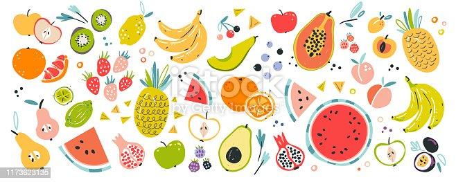 Fruit collection in flat hand drawn style, illustrations set. Tropical fruit and graphic design elements. Ingredients color cliparts. Sketch style smoothie or juice ingredients. Isolated scandinavian cartoon items.