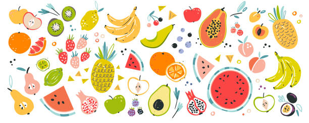 hand drawn vector fruit illustrations. Tropical ingredients. Isolated collection of elements. Fruit collection in flat hand drawn style, illustrations set. Tropical fruit and graphic design elements. Ingredients color cliparts. Sketch style smoothie or juice ingredients. Isolated scandinavian cartoon items. berry fruit stock illustrations