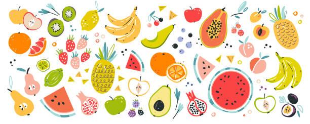 illustrations, cliparts, dessins animés et icônes de illustrations de fruits vecteurs dessinées à la main. ingrédients tropicaux. collection isolée d'éléments. - fruit de la passion