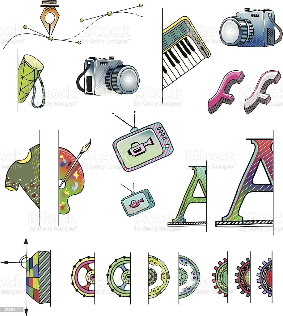 Hand Drawn Vector FS Icons royalty-free stock vector art