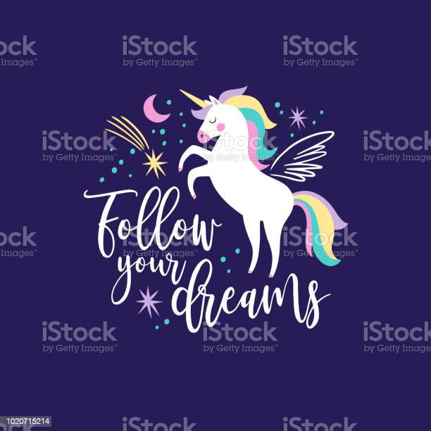 hand drawn vector galaxy unicorns with text on dark blue background vector