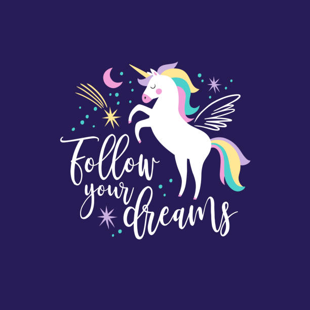 Hand drawn vector galaxy unicorns with text on dark blue background. Perfect for t-shirt logo, postcard or nursery decor. unicorn stock illustrations