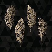 Hand drawn vector gold feathers set on black triangle