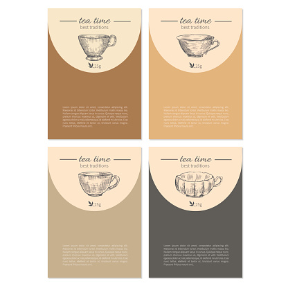 Hand drawn vector graphic cups isolated on colorful background, ink sketch japanese dishware, decorative frame, designed template cards for tea coffee party, packaging invitation, elegance labels