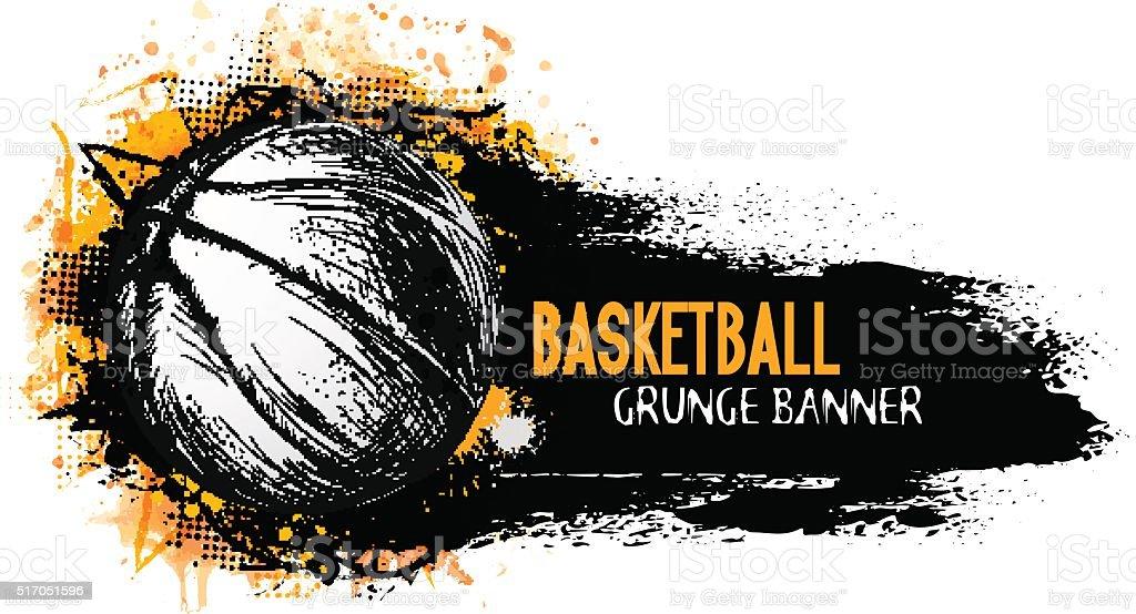 Hand drawn vector grunge banner with basketball ball vector art illustration