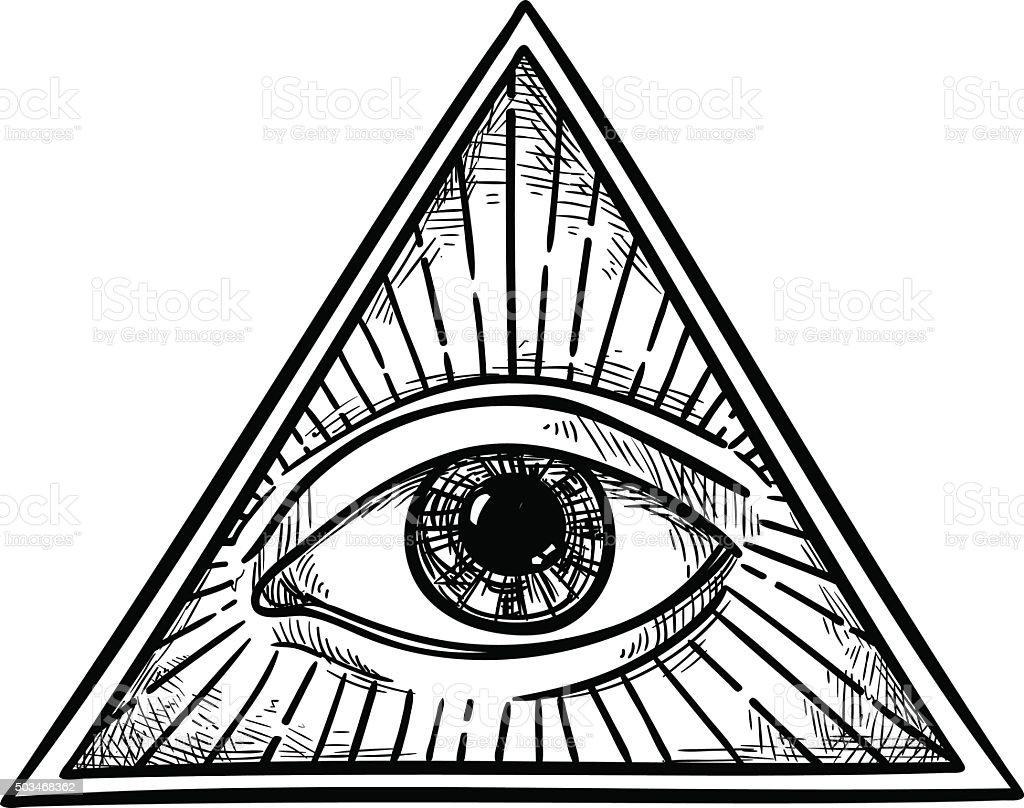 Hand drawn vector illustration - All seeing eye pyramid symbol. vector art illustration