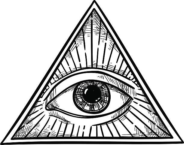 hand drawn векторная иллюстрация-all seeing eye символ пирамидальной формы. - третье око stock illustrations