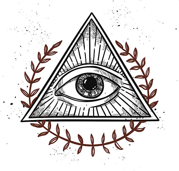 hand drawn векторная иллюстрация-all seeing eye символ пирамидальной формы. - freemasons stock illustrations