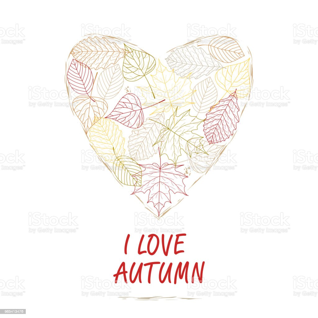 Hand drawn vector illustration. Background heart of autumn leaves.  I love autumn. Forest design elements.  Stock vector. Flat design. hand drawn vector illustration background heart of autumn leaves i love autumn forest design elements stock vector flat design - stockowe grafiki wektorowe i więcej obrazów abstrakcja royalty-free