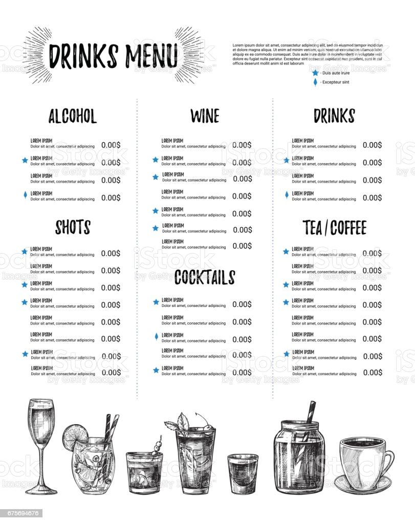 Hand Drawn Vector Illustration Bar Menu Template Of Restaurant Menu ...