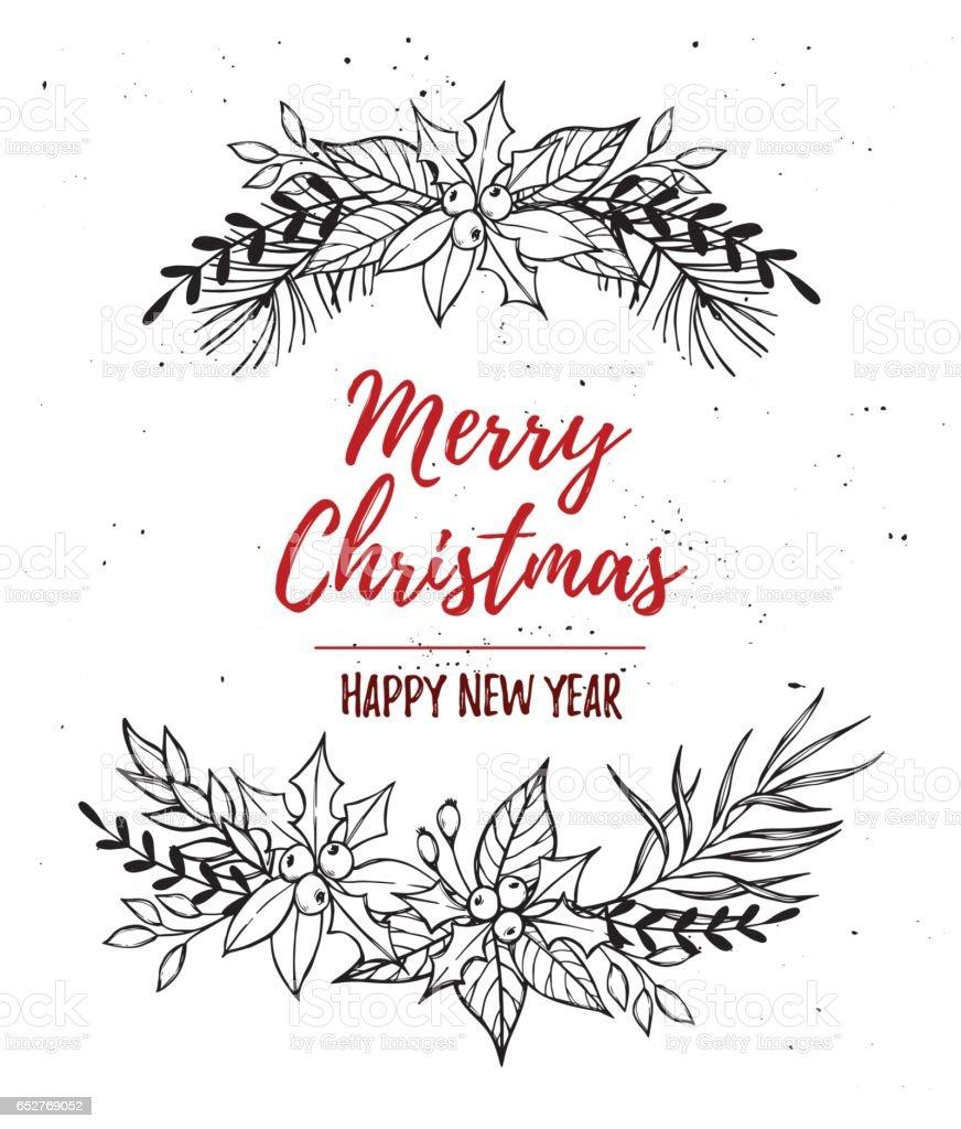 手書きのベクトル イラスト クリスマス リースクリスマス デザイン要素