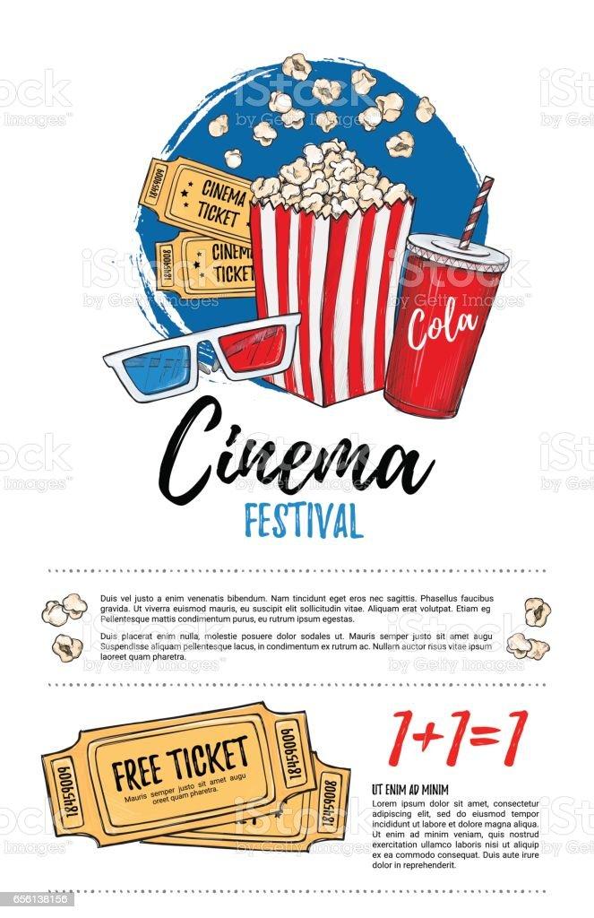 Handgezeichnete Vektorillustration Filmfestivals Film Und Film ...