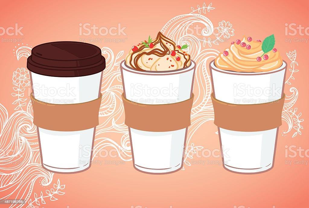 Hand drawn vector illustration - Coffee to go vector art illustration