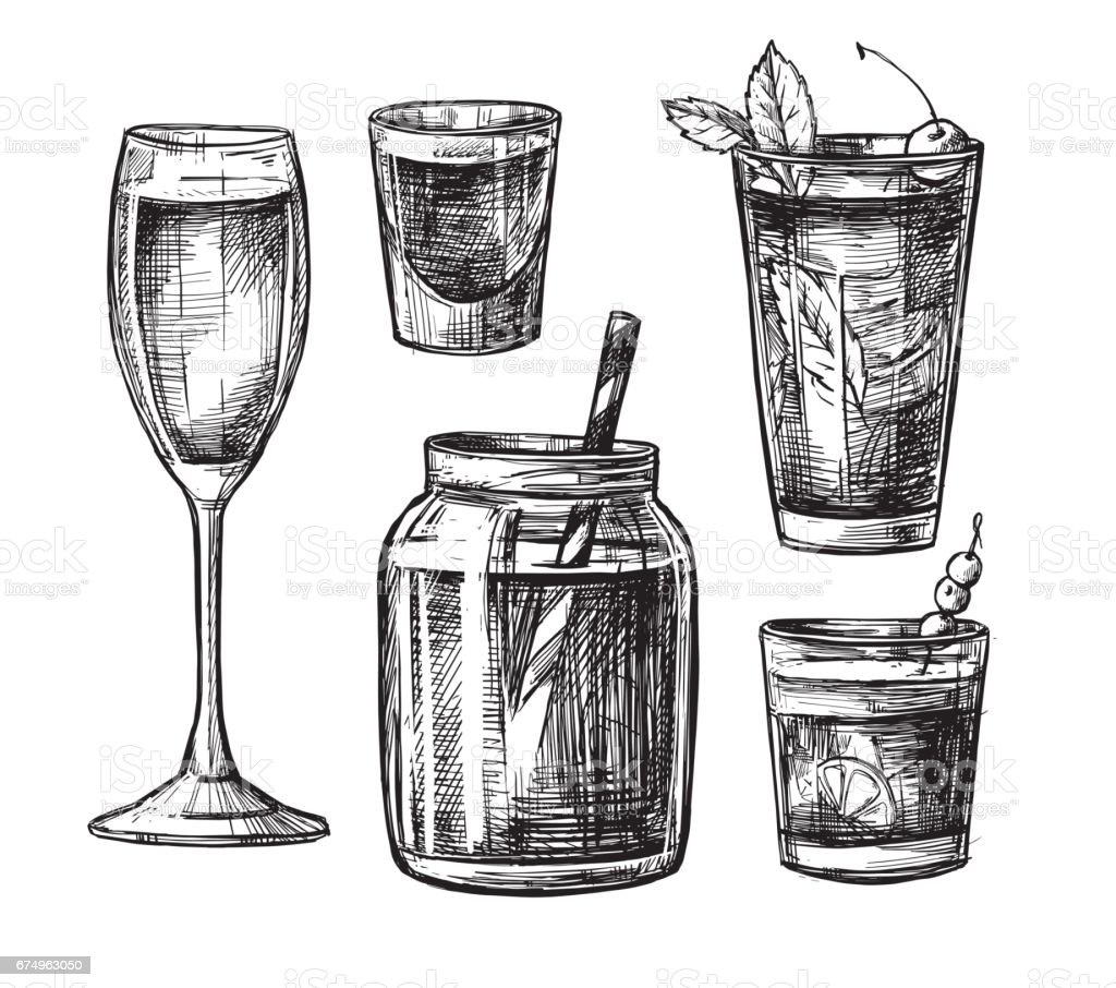 Hand drawn vector illustration - Collection of alcoholic and non-alcoholic cocktails. Design elements in sketch style. Perfect for brochure, cafe flyer, bar menu and restaurant menu vector art illustration