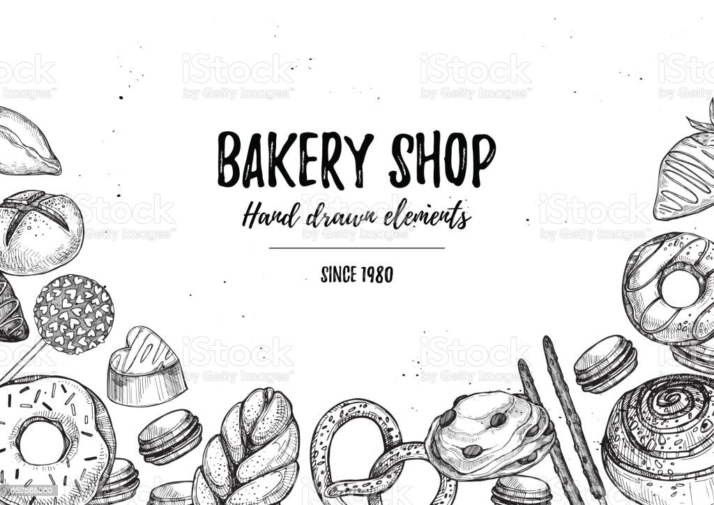 Hand drawn vector illustration - collection of goodies, sweets, buns and pastries. Background in sketch style for confectionery and bakery shops. Perfect for menu, cards, blogs, banners, flyers etc vector art illustration