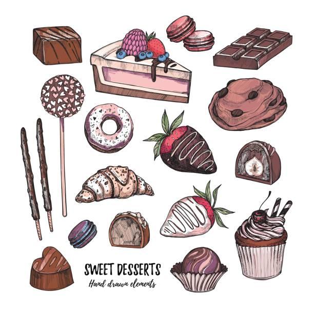 hand gezeichnet vektor-illustration - sammlung von leckereien, süßigkeiten, kuchen und gebäck. designelemente im skizzenstil für süßwaren und bäckereien. perfekt für menü, karten, blogs, banner, flyer etc. - tortenriegel stock-grafiken, -clipart, -cartoons und -symbole