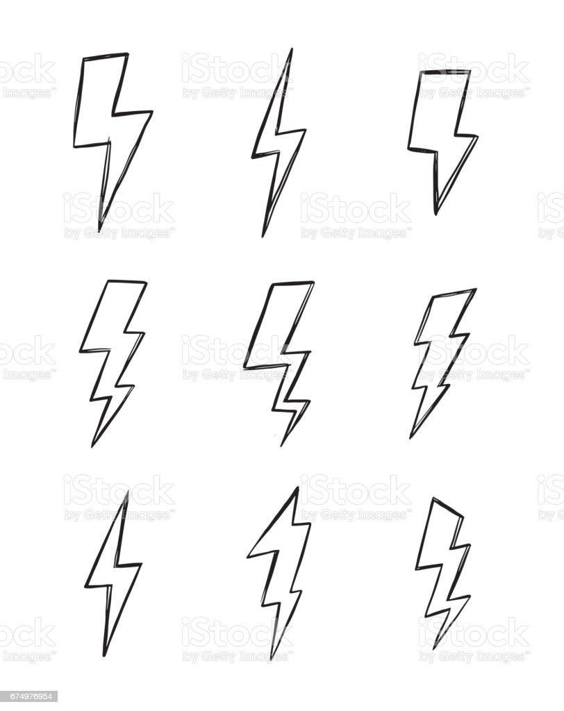 Hand drawn vector illustration - Collection of lightning. Design elements in sketch style. - illustrazione arte vettoriale