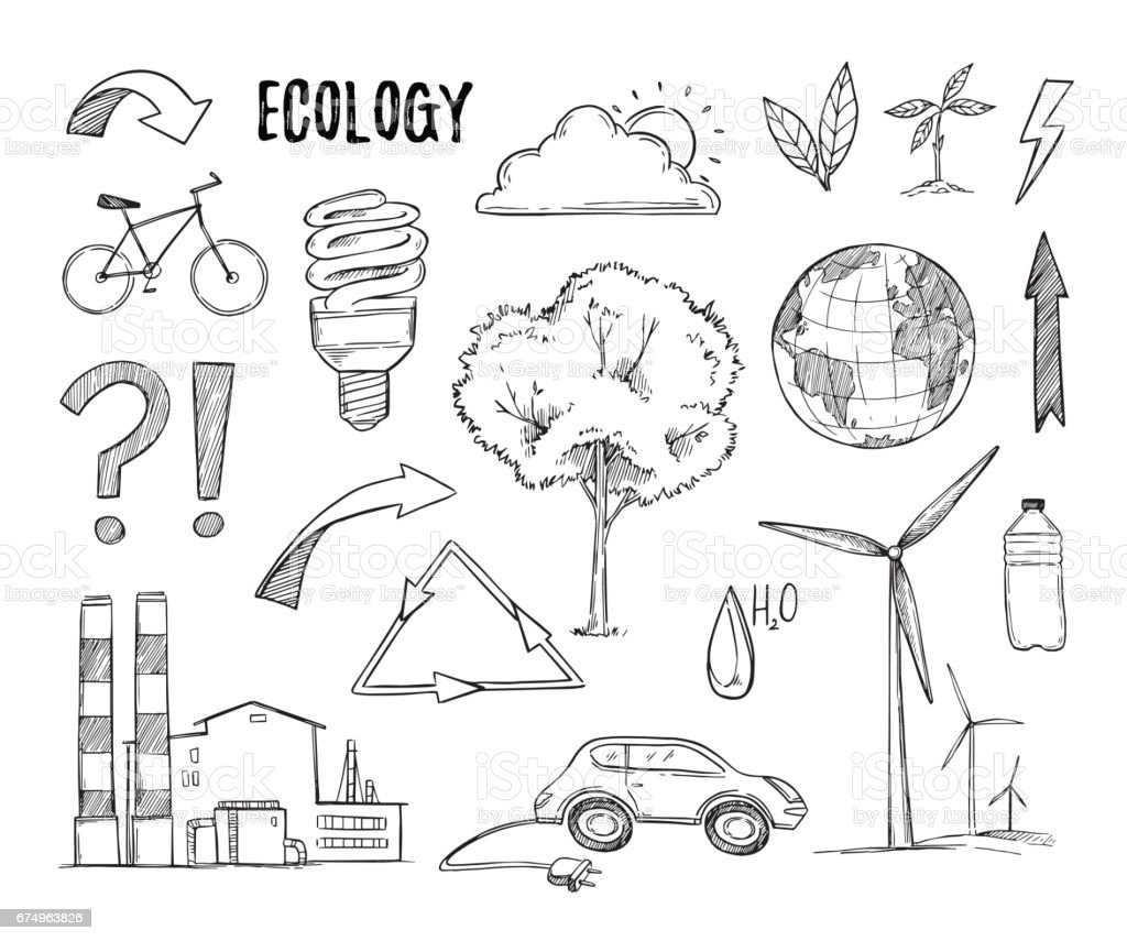 Hand drawn vector illustration. Ecology design elements (plant, sprout, energy-saving lamp, windmill, bike). Eco icons in sketch style.  Perfect for invitations, greeting cards, blogs, posters and more vector art illustration