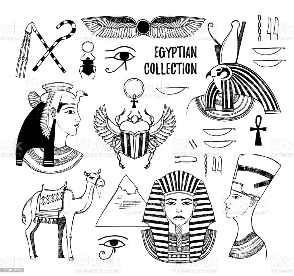 Hand drawn vector illustration - Egyptian collection. Gods of Ancient Egypt, Pharaoh, scarab beetle, camel, Egyptian symbols. Perfect for invitation, web, postcard, poster, textile, print etc. vector art illustration