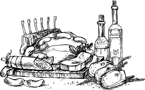 hand drawn vector illustration-farm fleisch. lebensmittelladen. - kräutermischung stock-grafiken, -clipart, -cartoons und -symbole