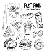 Hand drawn vector illustration - Fast food (hot dog, hamburger, french fries, pizza, wok, donut, tacos, nachos, burritos). Design elements in sketch style. Perfect for menu, cards, blogs, banners