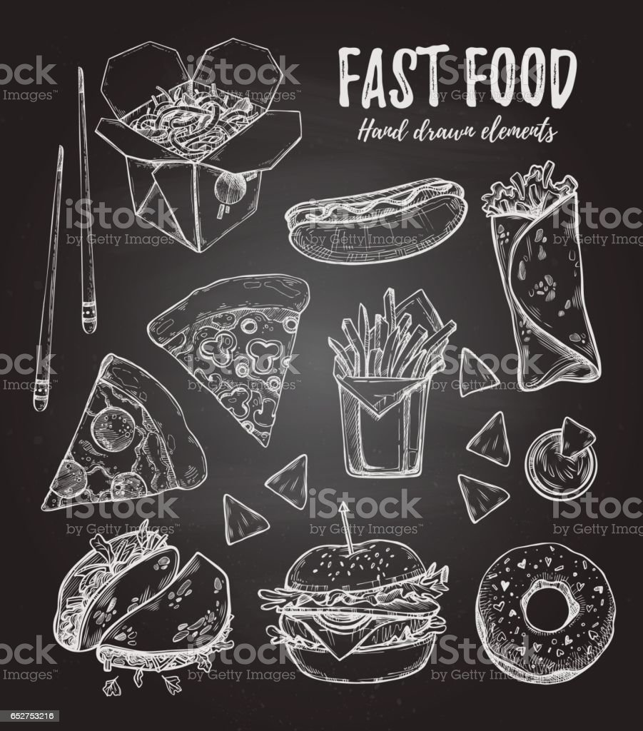 Hand drawn vector illustration - Fast food (hot dog, hamburger, french fries, pizza, wok, donut, tacos, nachos, burritos). Design elements in sketch style. Perfect for menu, cards, blogs, banners ベクターアートイラスト