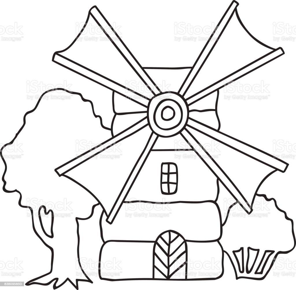 Kleurplaten Voor Volwassenen Landschap.Hand Getekende Vectorillustratie Flouring Windmolen Platteland Bomen