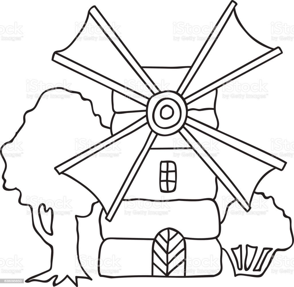 Hand drawn vector illustration flouring windmill countryside trees, landscape, coloring page adults kids vector art illustration