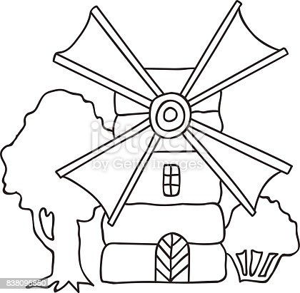 Hand Drawn Vector Illustration Flouring Windmill