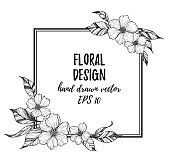Hand drawn vector illustration - frame with flowers and leaves. Perfect for invitations, quotes, tattoo, textiles, blogs, posters etc.