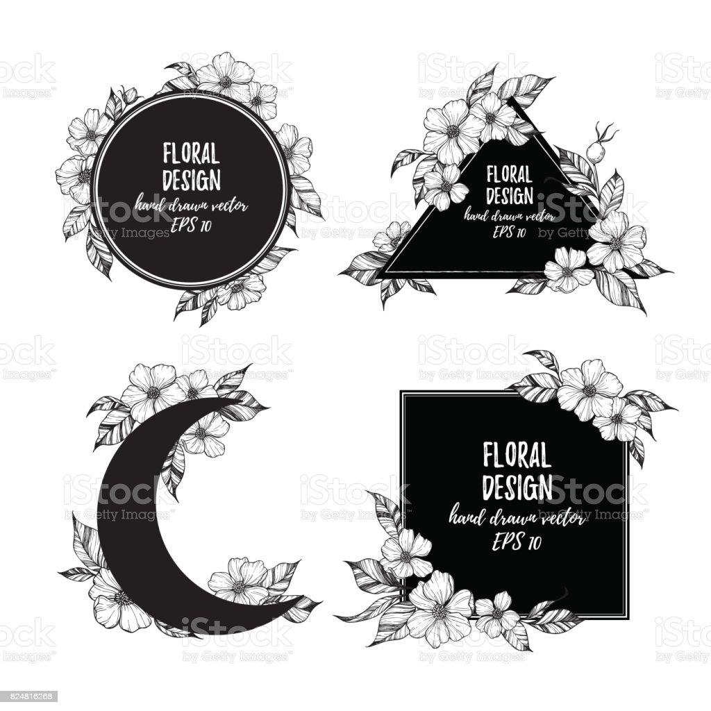 Ilustração em vetor mão desenhada - quadros com flores e folhas. Composições florais. Perfeito para convites de casamento, cartões postais, estampas, cartazes, etc - ilustração de arte em vetor